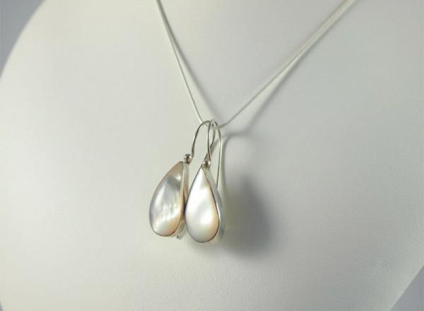 Perlmut Ohrhänger Silber, 5 gramm, tropfenform, schiller