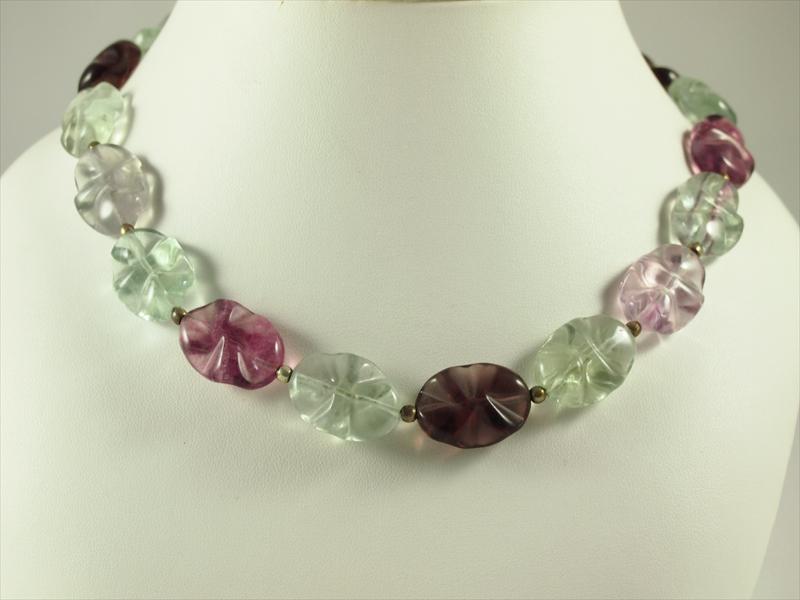 Fluorit grün und lila Wellenschliff Silber