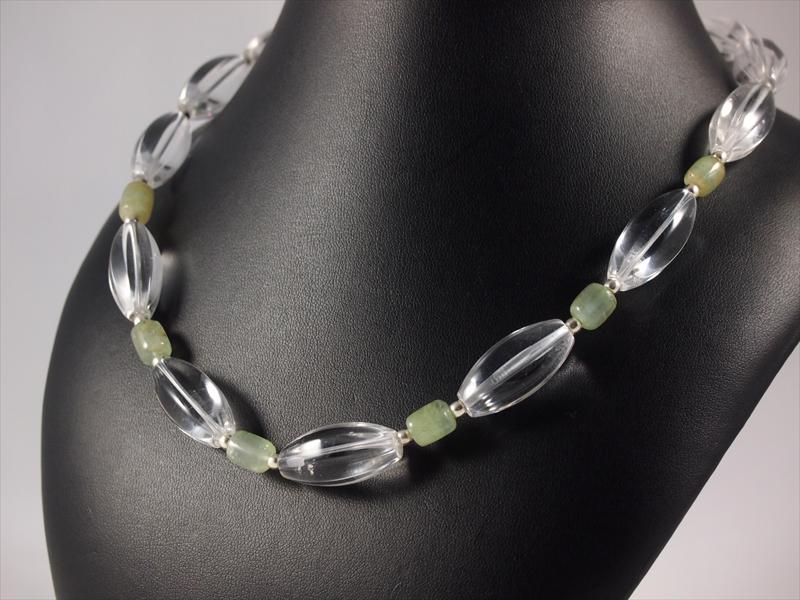 Bergkristallkette grosse Oliven und Prehnit