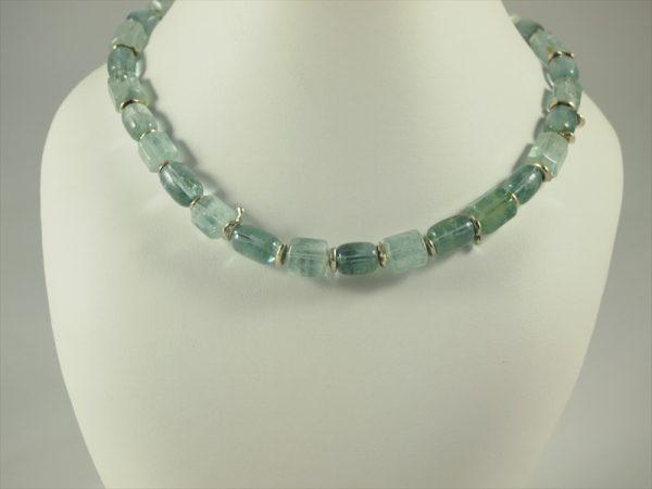 Aquamarinkette, 85 gramm, mit silber, blau grün, grosse steine