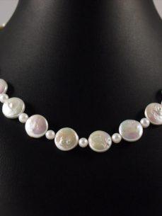 Perlenkette, 41 gramm, runde mit kleinen perlen, rosa, design