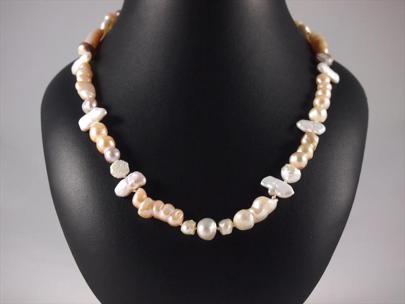 Perlenkette, 50 gramm, eigendesign, mix, rosa und weiß
