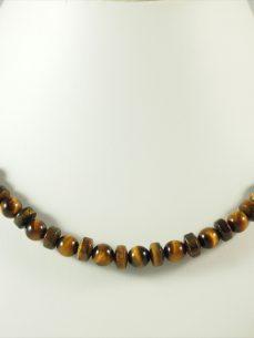 Tigerauge kette, 49 gramm, perlen, mit zwei silberteilen