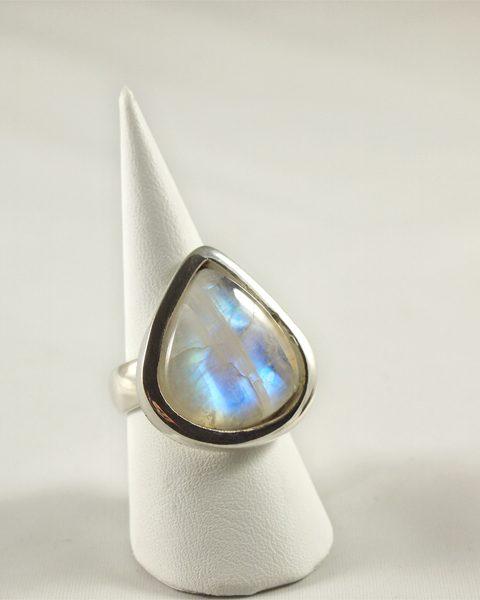 Regenbogenmondstein Ring in Silber