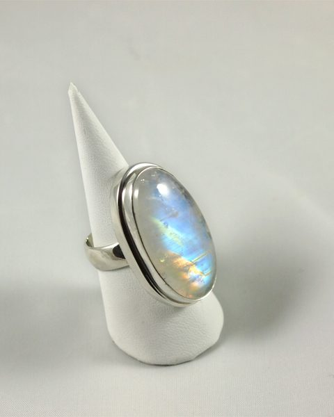 Regenbogenmondstein Ring top Qualität