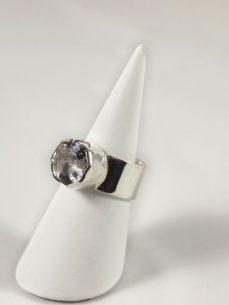 Bergkristall Ring achteckig facettiert