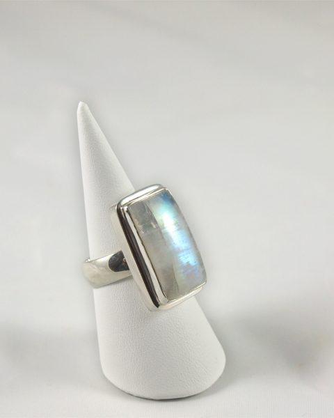 Regenbogenmondstein Ring in Sterling Silber
