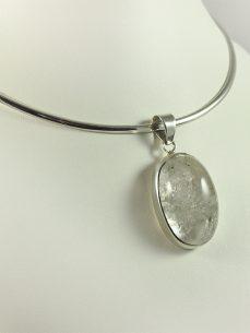 Bergkristall Einschlussquarz, 21 gramm, cabochon, Anhänger
