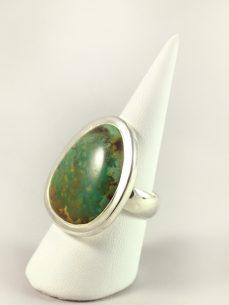 Türkis Ring, 12, 3 gramm, mit Masserung, gelbe einschlüsse, free form