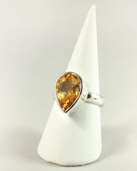 Zitrin Ring, 7, 1 gramm, facette, tropfenform, orange