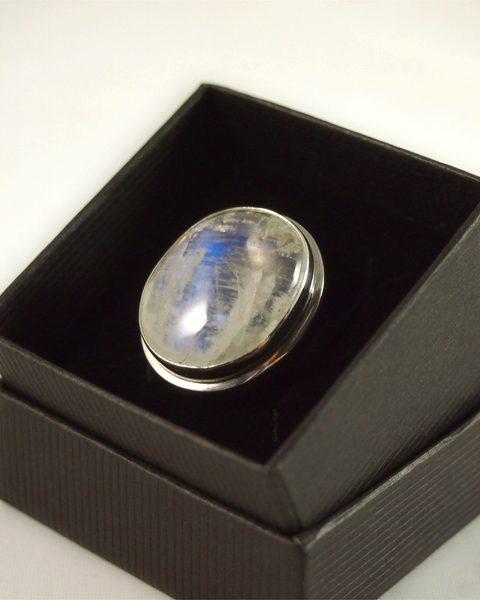 Regenbogenmondstein Ring, 14, 6 gramm, transparenz, super qualität, oval