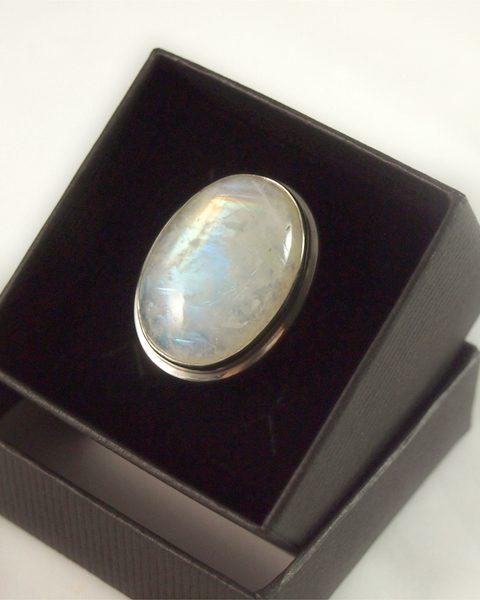 Regenbogenmondstein Ring, 16, 1 gramm, oval fassung, gute qualität