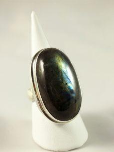 Labradorit Ring, 20 gramm, länglicher stein, nicht so starkes schillern