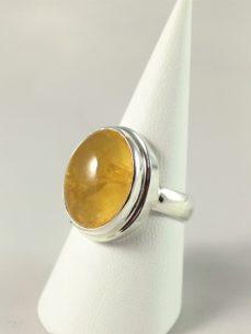 Prehnit Ring, 8, 3 gramm, gelber stein, oval,Australien