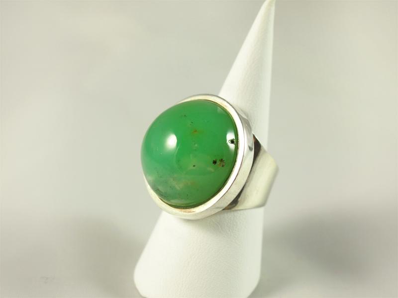 Chrysopras Ring, 18, 7 gramm, runder, großer stein, kräftige apfelfarbe