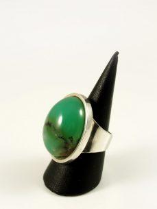 Chrysopras Ring, 20, 4 gramm, breiter steg, schönes apfelgrün, oval und hoch
