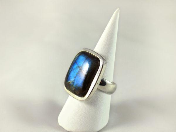Labradorit Ring, 13,7 gramm, rechteckig, tiefes blau