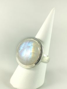 Regenbogenmondstein Ring, 12, 4 gramm, runder stein, helles schillern