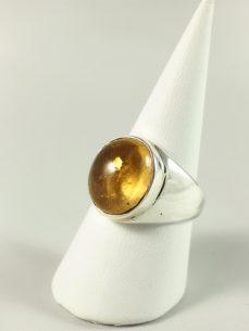 Zitrin Ring, 10, 1 gramm, breiter steg, zitronengelb, runder stein