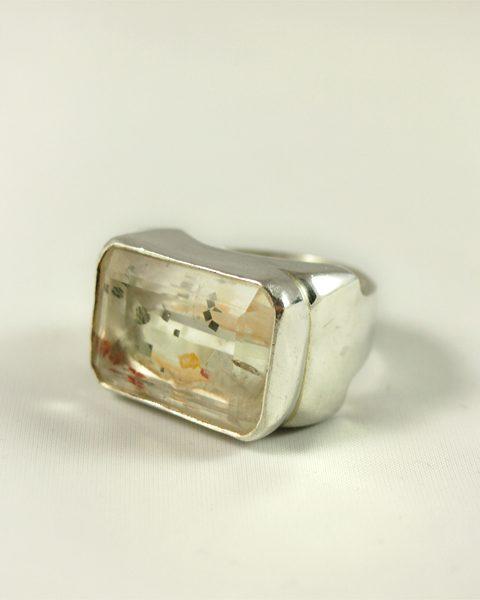 Quarz Ring, 24 gramm, einschlussquarz, eisen,mächtiges teil