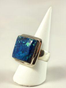 Azurit-Malachit Ring, 18,2 gramm, mächtiger stein und fassung, gut duchzeichnet