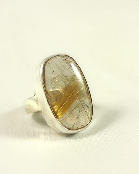 Rutilquarz Ring, 12,5 gramm, starke fassung, ovaler stein, schöne rutile