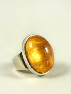Zitrin Ring, 24, 4 gramm, zitronengelb, breiter steg, mächtiger stein