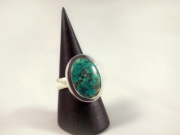 Türkis Ring, 9,9 gramm, ovaler stein, masserung, arizona