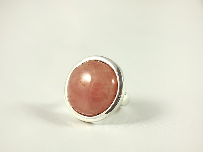Rosenquarz Ring, 19, 1 gramm, runder stein, kräftige farbe,