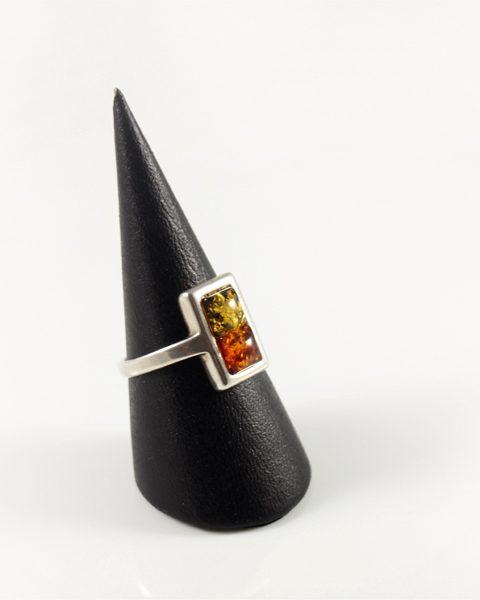 Bernstein Ring, 3,9 gramm, grüner und honigelb, klein und zart