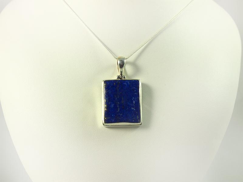 Lapislazuli Anhänger, 15 gramm, rechteckig, tiefes blau und pyrit,