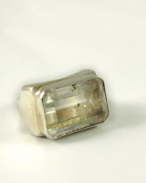 Einschlussquarz Ring, 202 gramm, derbe fassung, facettiert