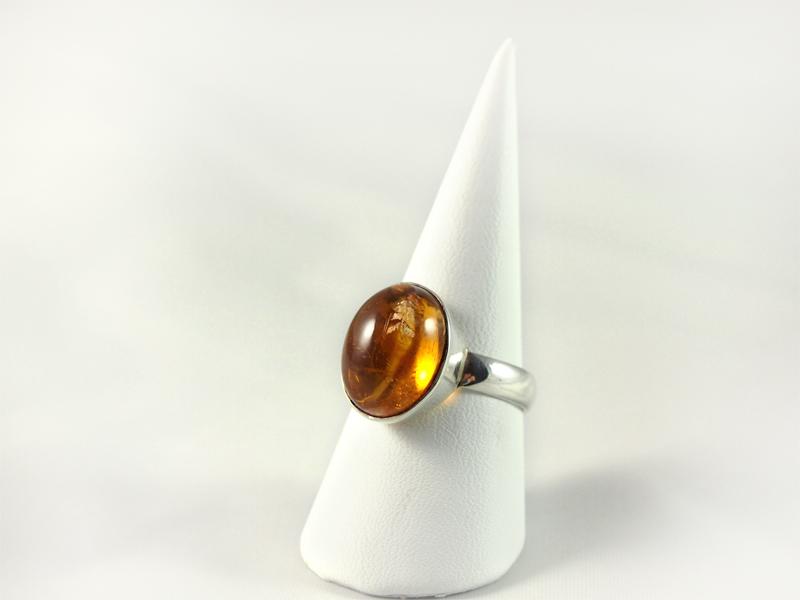 Zitrin Ring, 5, 4 grammn, gebrannt, kräftiges orange, ovaler stein,
