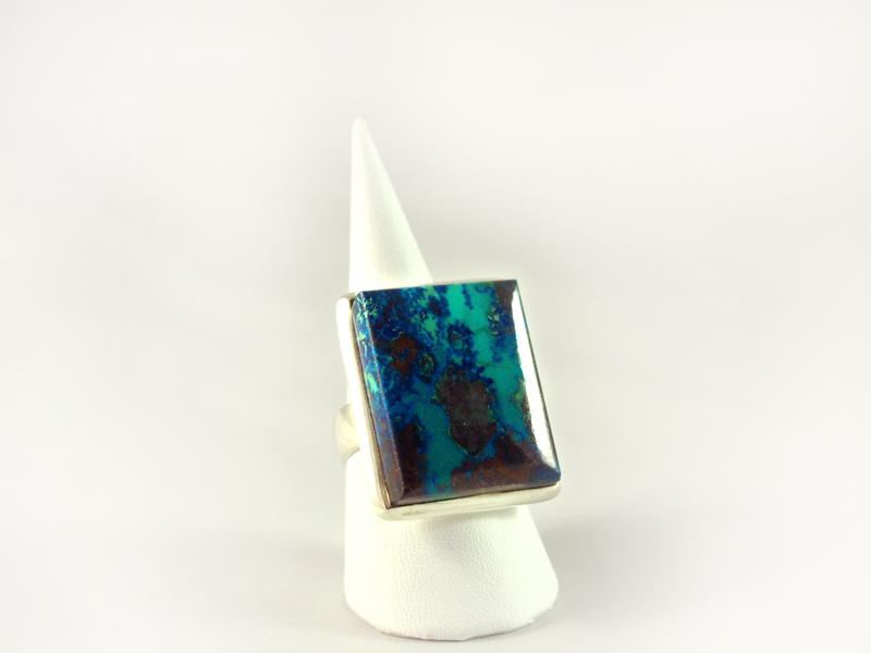 Azurit Ring, 18, 7 gramm, kräftige farbe, rechteckiger großer stein