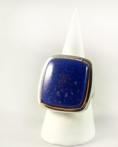 Lapis-Lazuli Ring, 18 gramm, schönes blau, mit pyrit, rechteckig,
