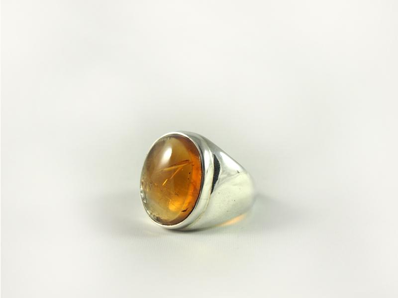 Zitrin Ring, 16, 5 gramm, breiter steg, ovale form, kräftige farbe