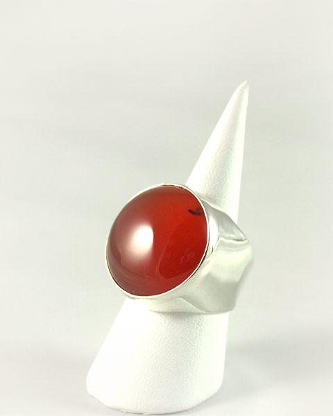 Karneol Ring, 13, 8 gramm, kräftiges orange rund, starke silberfassunf