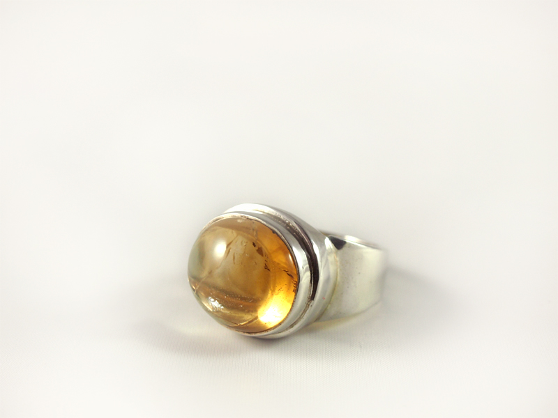 Zitrin Ring, 17,1 gramm, quer, schöne farbe, natur
