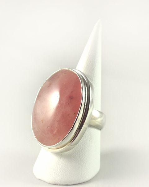 Rosenquarz Ring, 18, 3 gramm, großer stein, opak, oval