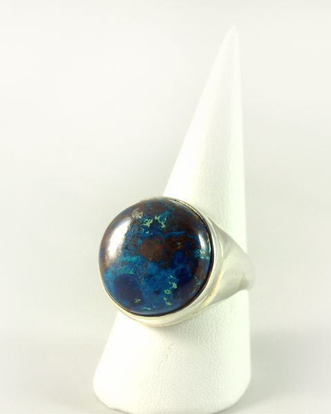 Chrysokoll Ring, 13,5 gramm, rund, blau grün, opak