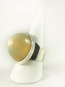 Mondstein Ring, 18,8 gramm, hoher stein, graugelb