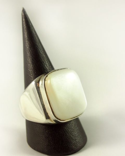 Perlmutt Ring, 25, 9 gramm, massiv, breit, hochformat