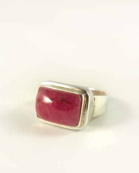 Turmalin Rubelitt Ring, 13, 6 gramm, silber, kräftige farbe, quer