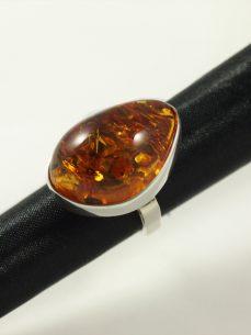 Bernstein Ring, 11,1 gramm, hoch, silber, free form