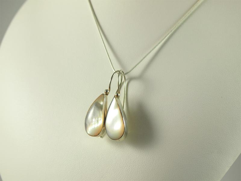Perlmutt Ohrhänger Silber, 5 gramm, tropfenform