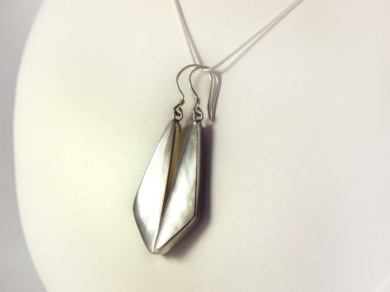 Perlmutt Ohrhänger Silber, 7 gramm, eckige Form,