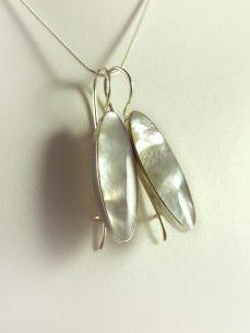 Perlmutt Ohrhänger Silber, 5 gramm, längliche Form