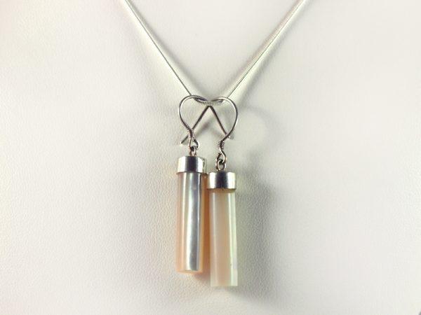 Perlmutt Ohrhänger Silber, 5,2 Gramm, Zylinderform