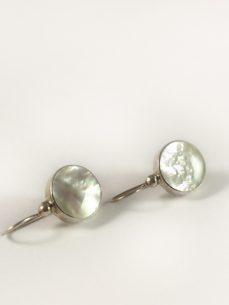 Perlmutt Ohrhänger Silber, 4,3 Gramm, rund