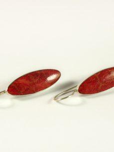 Schaumkoralle Ohrhänger, 4,5 Gramm, längliche Form
